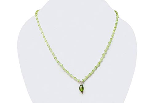 Natural Peridot drops Beads Necklace with Sterling Silver findings 16