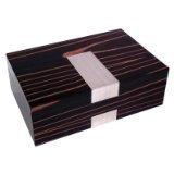 Executive High Gloss Piano Finsh Ebony Burl Wood Watch & Cufflink Jewelry Box Case
