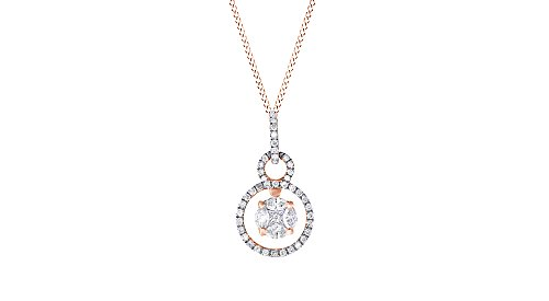 Jewel Zone US Composite Natural Diamond Dangle Triple Circle Pendant Necklace 14K Solid Rose Gold (1/10 Ct)