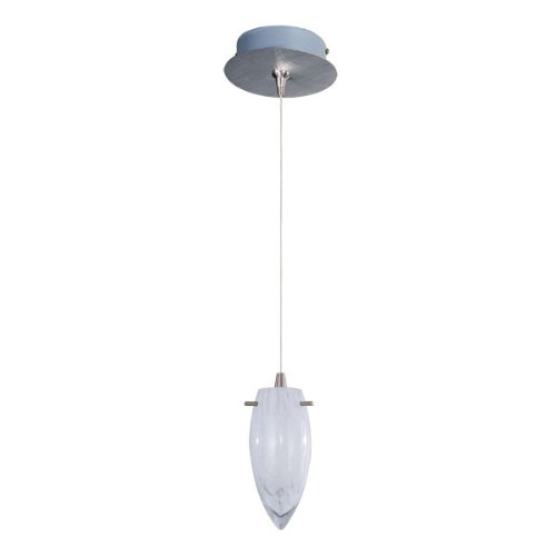 - ET2 Lighting E94541-113SN Mini Pendant with White Cirrus Glass Shade, Satin Nickel Finish