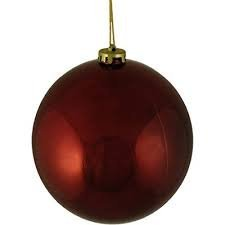 Queens of Christmas WL-ORN-BLKS-80-BU-UV Shiny Ball Ornament with Wire and UV Coating 80mm Burgundy