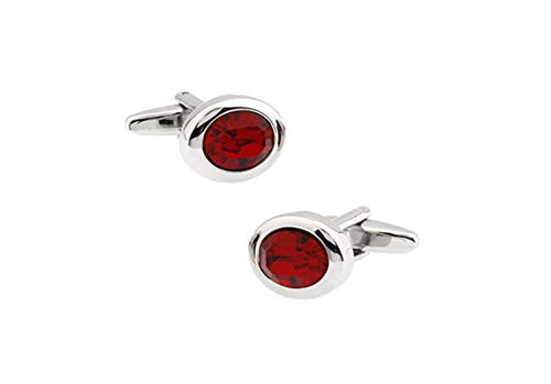 Classic Silver Oval Cufflinks - Adisaer Cufflinks Silver Red Oval Classic Cufflinks for Men Wedding Business Gift