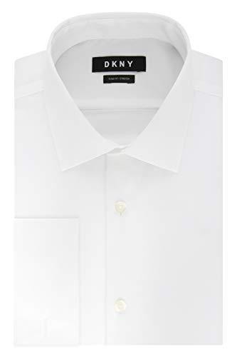 DKNY Men's Dress Shirt Slim Fit Stretch Solid French Cuff, White, 15.5