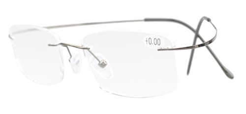Eyekepper Titanium Rimless Reading Glasses Readers Men Women Gunmetal 1.75