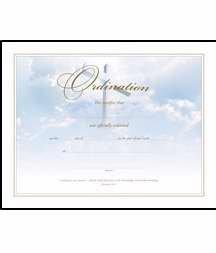 Certificate-Ordination (Cross Gold Foil Embossed) - Ordination Certificate