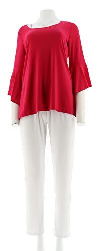 Slinky Brand 3/4 Bell-SLV Tunic Basic Pant Set Fuchsia White 1X # 542-893 ()