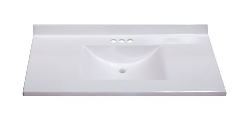 Imperial FW3722SPW Center Wave Bowl Bathroom Vanity Top Solid White Gloss Finish 37 Inch Wide by 22 Inch Deep