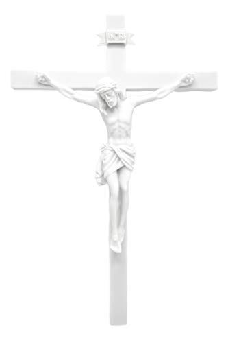 Vittoria Collection 13 Wall Crucifix Cross Jesus White Stone Corpus Italian Statue Sculpture Made in Italy