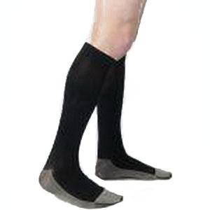 Juzo Unisex Soft Ribbed Silver Sole Men's Knee-High Compression Stockings Size 4 Regular, Beige (1 Pair)