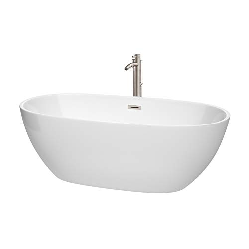 Wyndham Collection WCBTK156167ATP11BN Juno Freestanding Bathtub with Floor Mounted Faucet in Brushed Nickel, 67