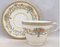 Aynsley, John Henley (Smooth,gold Trim,green Backstamp) Footed Cup & Saucer Set