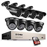 (ZOSI 1080p Security Camera System, 8Channel 1080P HD-TVI 4 in 1 Surveillance Video DVR Recorder and (8) Weatherproof 1920TVL 2.0MP CCTV Bullet and Dome Cameras 120ft night vision,2TB Hard Drive)