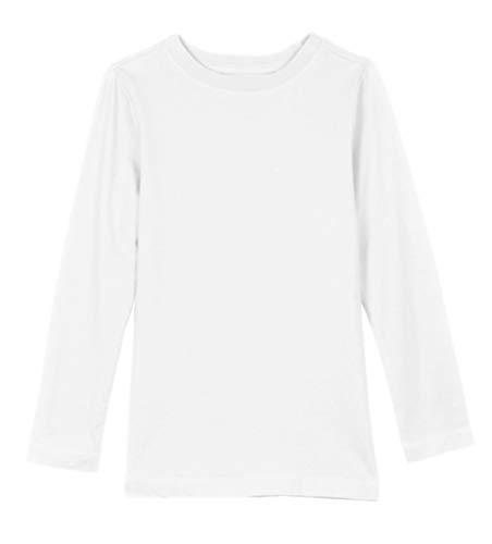 47823b1d Khanomak Kids Girls Long Sleeve 100% Cotton Crewneck Plain Basic T-Shirts  Tee