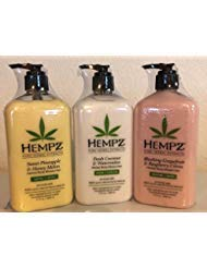 HEMPZ FRUIT COCKTAIL Bundle 1-Blushing Grapefruit & Raspberry Creme 17oz 1-Sweet Pineapple & Honey Melon Herbal Body Moisturizer 17oz 1-Fresh Coconut & Watermelon Body Moisturizer 17oz