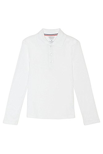 French Toast Little Girls' Toddler Long Sleeve Interlock Polo With Picot Collar, White, 3T