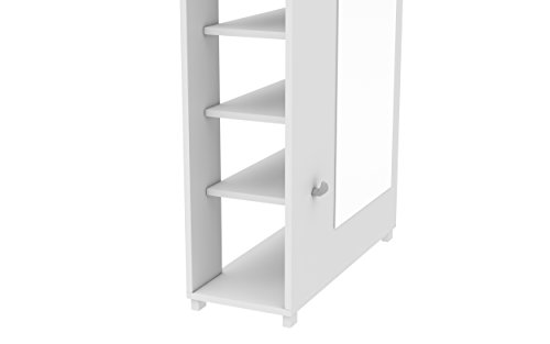 Manhattan Comfort Valencia Closet Shoe Organizer 1.0 Collection Modern 10 Shelf Shoe Closet Organizer with Full Length Mirror and 3 Hooks, White by Accentuations by Manhattan Comfort