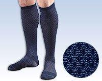 FLA H24 Activa Men's Patterned Casual Socks 15-20 mm Hg LARGE BLACK