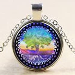 psychedelic colors cabachon necklace pendant. Tree of Life Roots sky blue green purple pink yellow.chain included glass