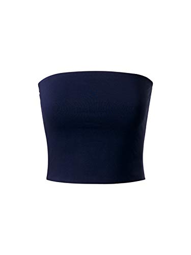 - MixMatchy Women's Causal Strapless Cute Basic Solid Cotton Tube Top Navy Blue L