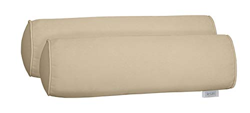 tdoor Set of 2 Corded Bolster Neckroll Pillows Made from Performance Ivory Velvet Fabric- Choose Size (20