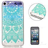 iPod Touch 5/6 Silicone Gel Case [with Free Screen Protector],KaseHom Crystal Clear Ultra Slim Soft Rubber Skin Flexible Bumper Shell Transparent TPU Protective Case Cover,Blue and Purple Mandala ()