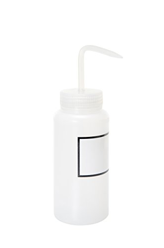 (Vestil BTL-WW-16-LBL Wide Mouth Low Density Polyethylene (LDPE) Round Squeeze Wash Bottle with Label and Natural Cap, 16 oz Capacity, Translucent)