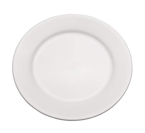 "Chef Expressions 7-1/2"" Round Salad Plate, Restaurant Quality, Vitrified Bright White Porcelain, Wide Rim, Rolled Edge (Case of 12)"