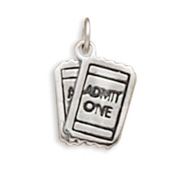 West Coast Jewelry 925 Sterling Silver ADMIT ONE Movie Tickets Charm