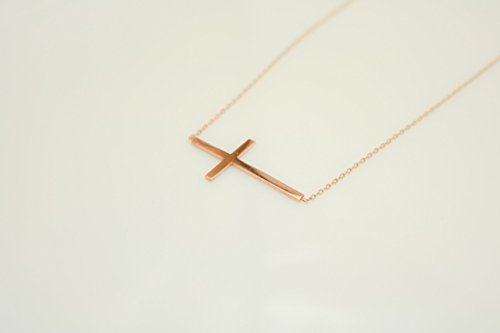 Rose Gold Sterling Silver Small Horizontal Cross, Petite Cross 41mm - 46.5mm (16.1 to 18.3 inches) Adjustable Chain, Religious Jewelry by Handmade Studio