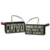 """Box Sign Wine Caddy with Handle """"Drinking the Finest Wines Creates the Finest Memories"""""""