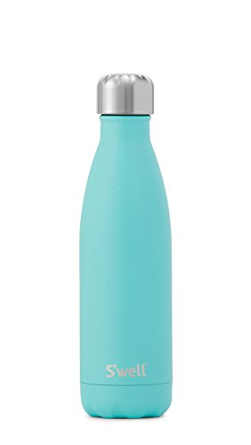 S'well Vacuum Insulated Stainless Steel Water Bottle, Double Wall, 17 oz, Turquoise Blue