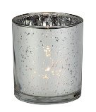Biedermann & Sons Rustic Glass Pillar Candle Holders (Box of 4), Silver Review