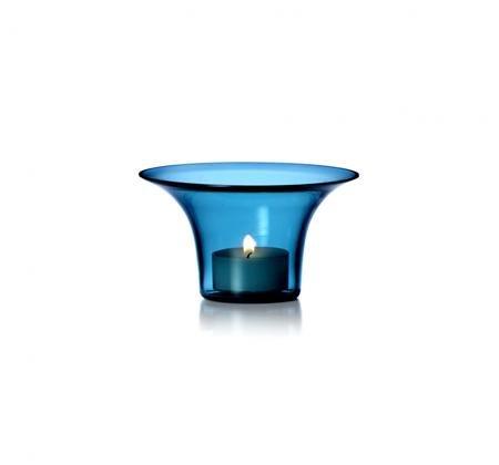 Rosendahl Filigran Design Lin Utzon Blue Glass Candle Holder