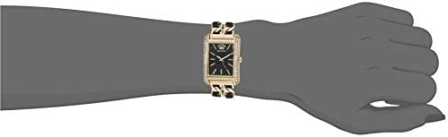 Juicy Couture Black Label Women's Swarovski Crystal Accented Gold-Tone and Black Leather Chain Bracelet Watch, JC/1196BKGB