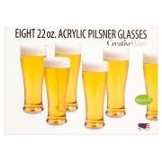 Creative Bath 22-Ounce BPA Free Acrylic Pilsner Beer Glasses, Set of 8