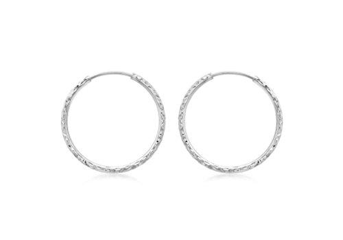 27mm-Boucles d'Oreilles Créoles Femme-Coupe Diamant Or Blanc 9Carats