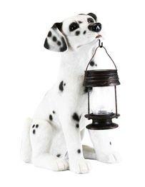 Decorative Energy Saving Dalmatian Dog with Lantern Solar Light