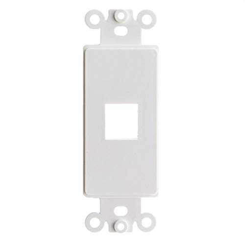 GOWOS Decora Wall Plate Insert, White, 1 Keystone Jack, Single Gang - Inline UTP LAN Modular Patch Stand Punch Down Panel