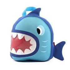 Jack & Friends Neoprene Kids Backpack/Lunch Kid's Lunch Bag for Preschool | Boy's Backpack (Shark- Small)