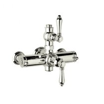 Rohl A4917LMPN Country Bath Collection Exposed Thermostatic Mixer with Metal Levers, Polished Nickel by Rohl