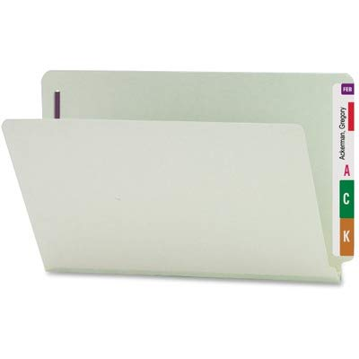 Smead End Tab Pressboard Fastener File Folder with SafeSHIELD Fasteners, 2 Fasteners, 1'' Expansion, Legal Size, Gray/Green, 25 per Box (37705) by Smead