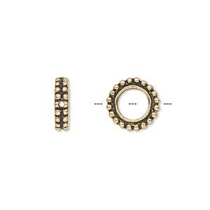 Bead frame antique gold-plated pewter 11x3mm beaded flat round fits up to 6mm bead