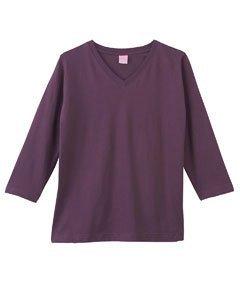 Sleeve Longer Length T-shirt (LAT Apparel Ladies 3/4 Sleeve Jersey Tee [Large] Eggplant Purple V-Neck)