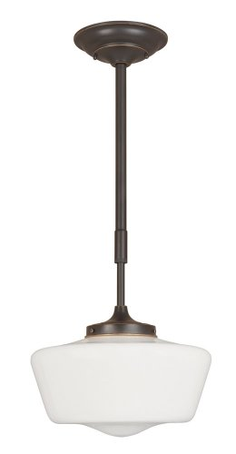 World Imports Lighting 9009-88 Luray 1-Light Drop Down Pendant, Opal Glass with Oil Rubbed Bronze - 1 Light Drop Pendant