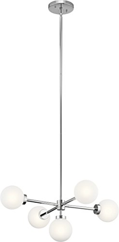 Kichler Lighting 44093CH Five Light Chandelier from The Aura Collection, Chrome ()