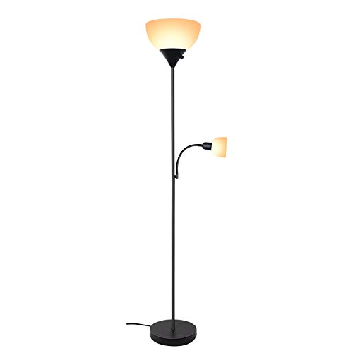 SUNLLIPE Floor Lamp 70.5 inches Energy Saving Modern Sturdy Standing Uplight LED Reading Light Lamp for Living Room, Dorm and Bedroom (Black)