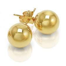14k Gold Plated Brass 12 Mm Ball Stud Earrings ()