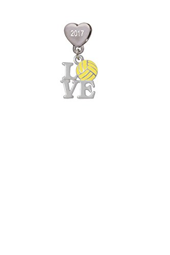 Love with Water Polo Ball Custom Year Stainless Steel Heart Bead Charm