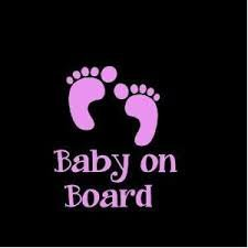 Baby On Board Baby Foot Print Vinyl Decal Sticker|PINK|Cars Trucks Vans Jeeps SUV Boats|5.5
