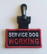 ''Service Dog Working'' - Double Sided Patch - Clip on ID Tag